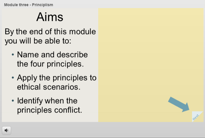 Example of Training Module 3 - Priniciplism. Submitted by Jennifer Estey
