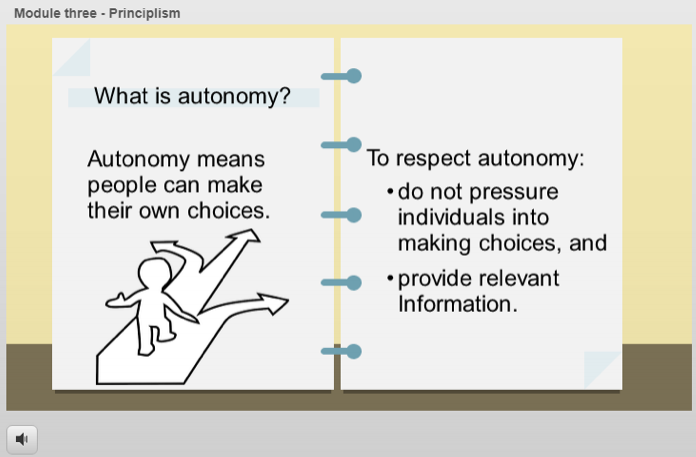 Example of Training Module 3 - Principlism. Submitted by Jennifer Estey