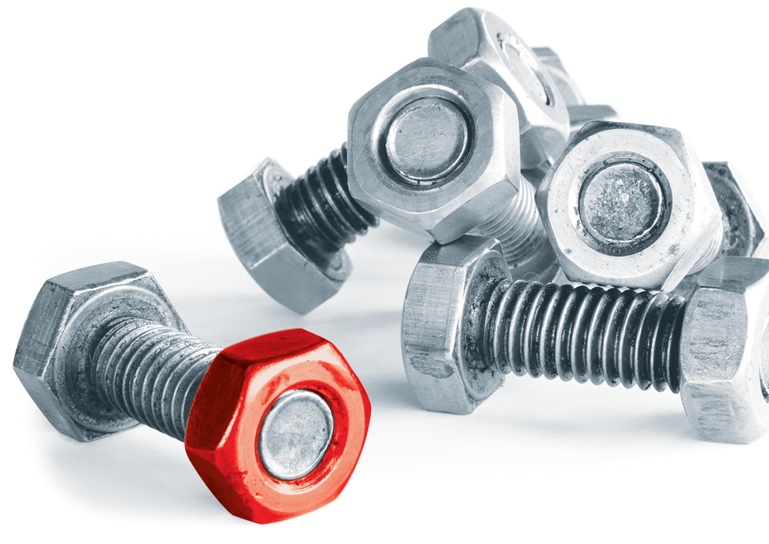 Mechanism nut and bolts with one nut picked out in red
