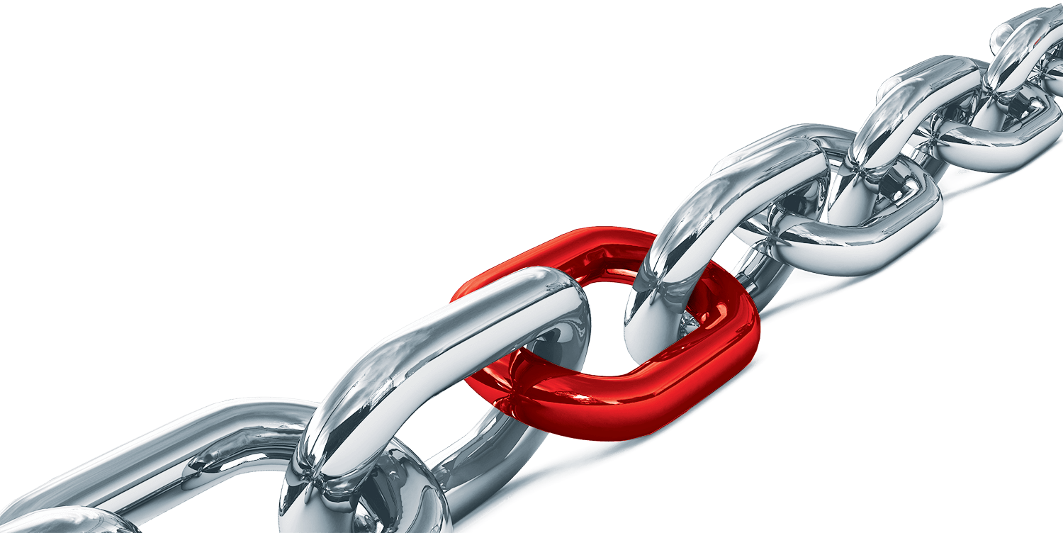 Mechanism chain with red link in the middle of grey links