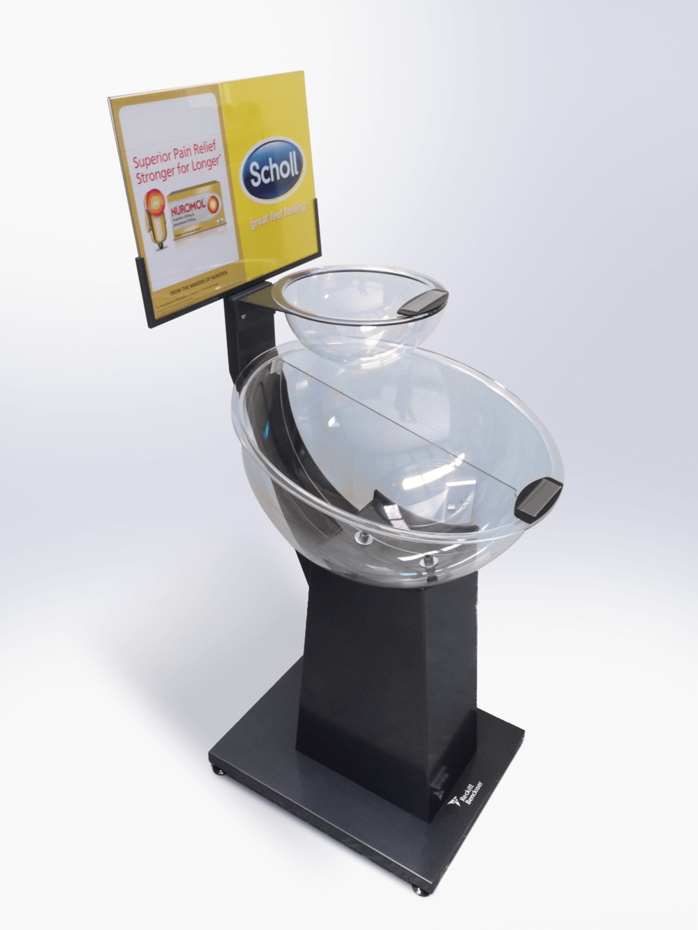 Dual fishbowl unit with changeable graphic areas Display design and manufacture | Visuals | Art | Print | Pack and despatch