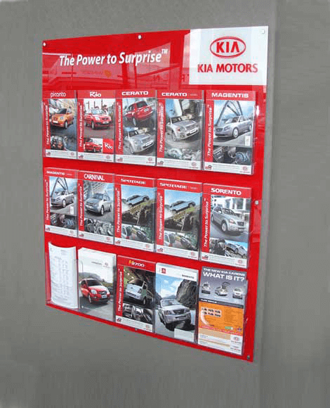 Wall mounted brochure holder display Display design and manufacture | Visuals | Vinyl cut graphics | Installation