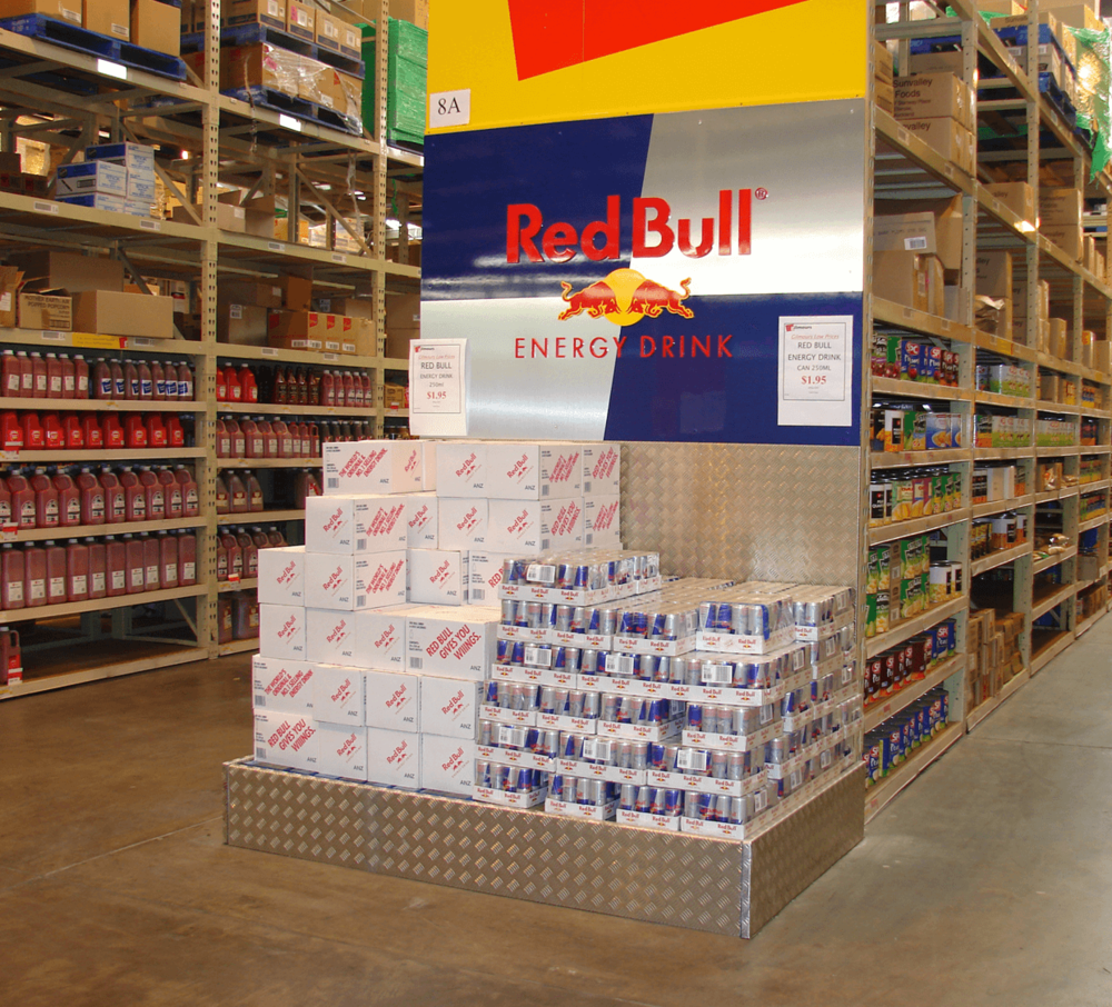 Aisle end pallet dress up solution Display design and manufacture | Visuals | Vinyl cut graphics | Nationwide delivery and installation into Toops and Gilmours