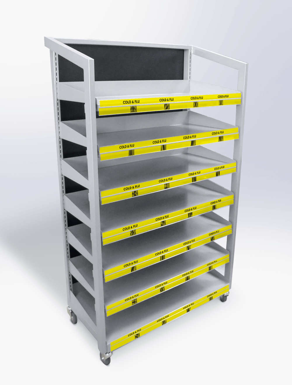 Mobile steel floor shelving unit with adjustable shelves Display design and manufacture | Visuals | Pack and despatch nationwide to retailers