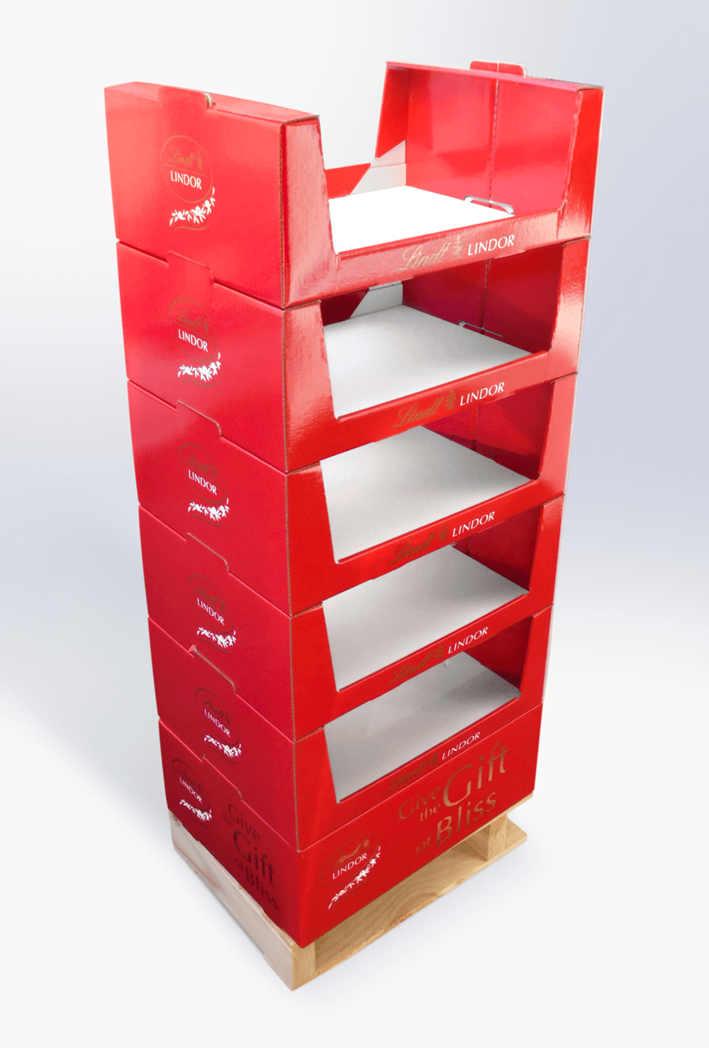 Stackable cardboard display with custom pallet Display design and manufacture | Art | Print | Pack and despatch