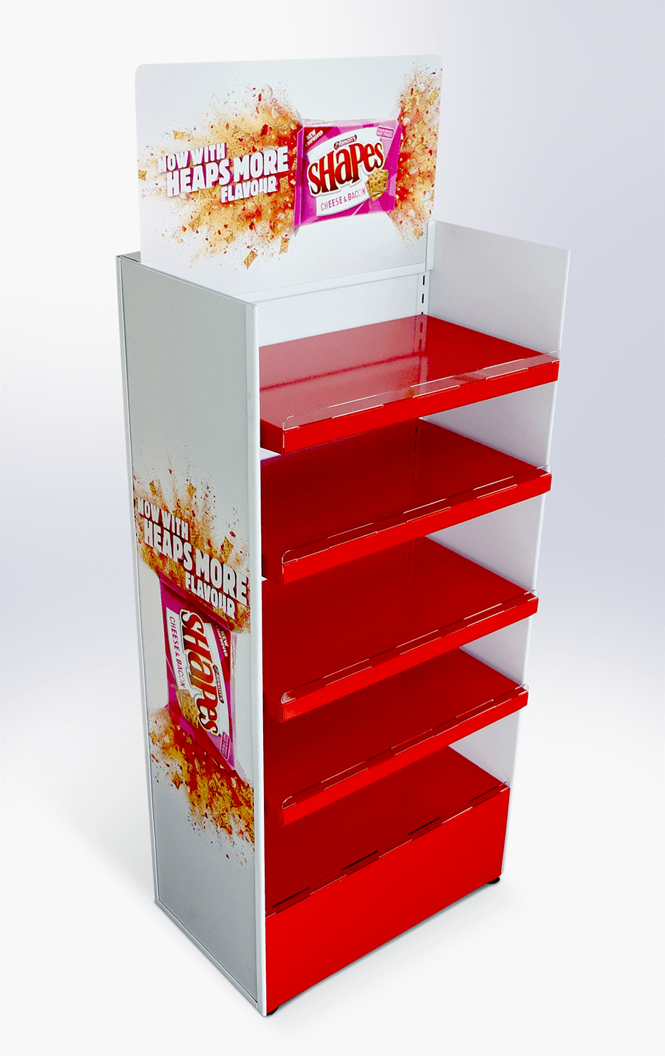 Steel floor shelving unit with adjustable shelves Display design and manufacture | Visuals | Art | Print