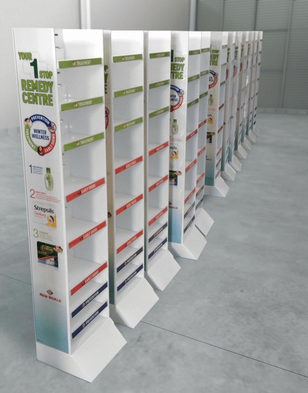 Permanent steel and acrylic floor standing unit with adjustable shelves Display design and manufacture | Visuals |  Art | Print | Pack and despatch nationwide to retailers