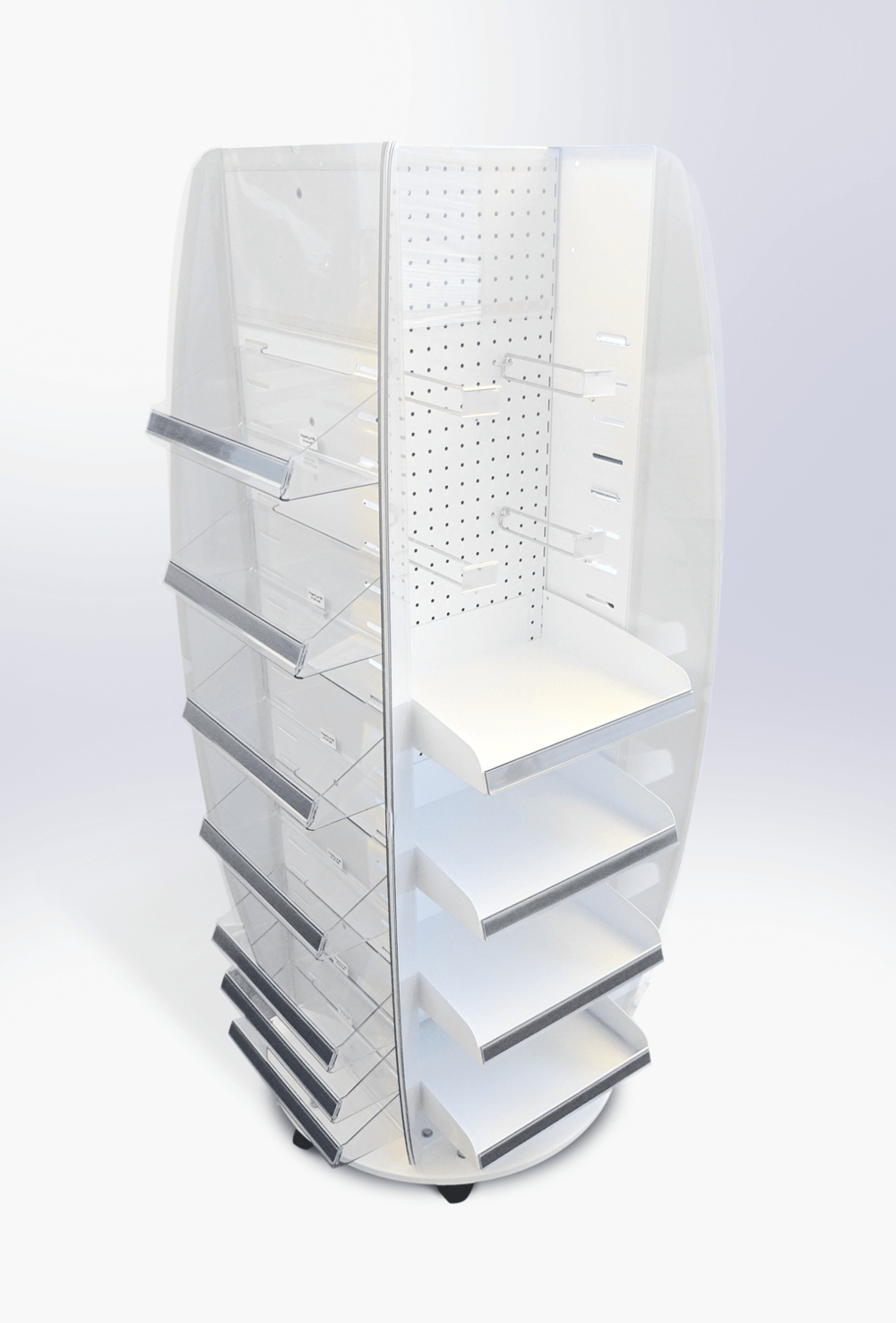 4 Sided Spinner Stand with a mixture of shelves and prongs and changeable graphic areas Display design and manufacture | Visuals | Pack and despatch