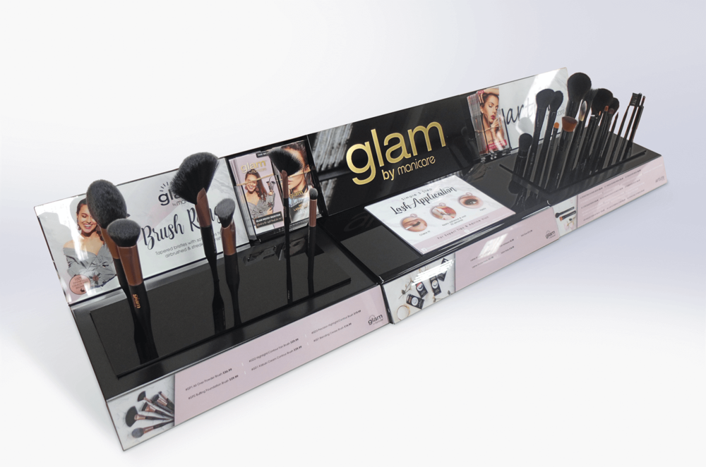 Glam Tester display unit with changeable graphic areas Display design and manufacture | Visuals | Art | Print | Pack and despatch nationwide to retailers