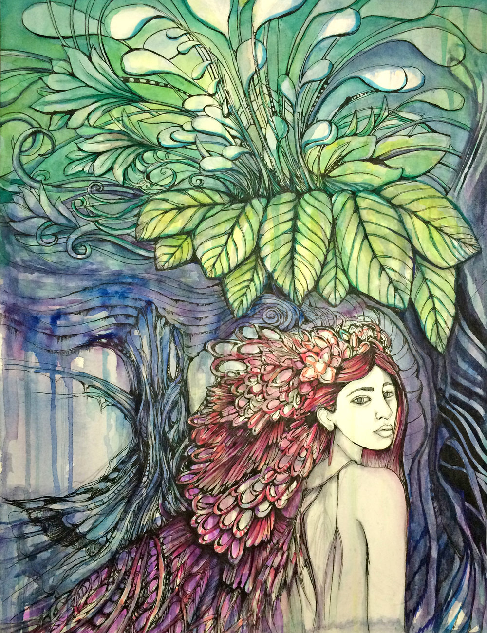 "MOTHER NATURE 12""X16"" WATERCOLOR, MARKER, & INK ON PAPER"