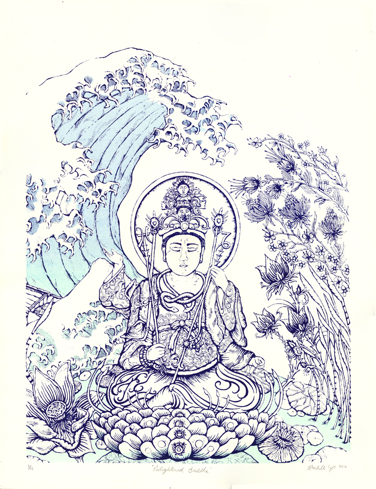 "BUDDHA'S ENLIGHTENMENT 12""X16"" SCREEN PRINT ON PAPER"