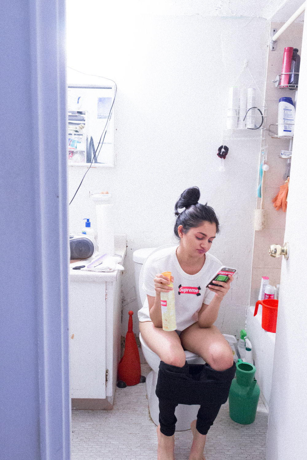 Me in my Supreme shirt, sitting on my Supreme toilet, taking a Supreme shit.