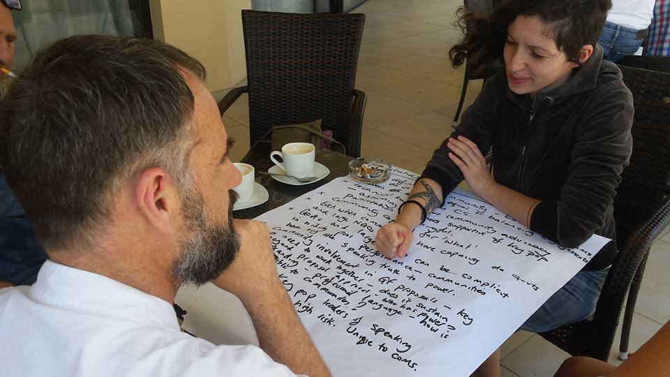 Mat Southwell and EuroNPUD's coordinator Mags Maher work on EuroNPUD's first strategy.