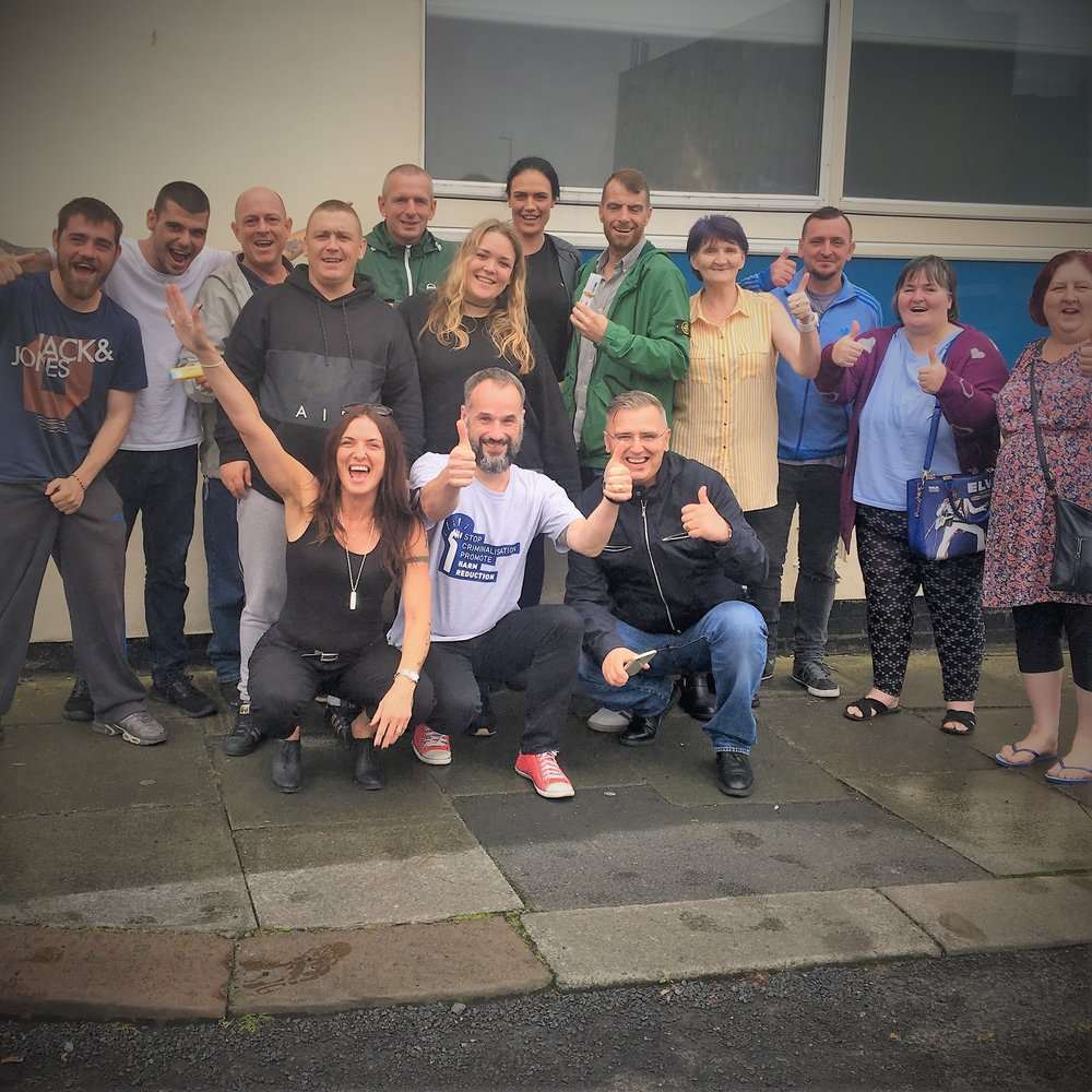The Blackpool Crew! Front row: left Emma Daggers (Area Coordinator for Blackpool), Mat Southwell (EuroNPUD's Project Manager) and Amy Massey stading behind Mat! -and Peter Yarwood (Area Coordinator for Burnley) Back Row: The crew from Blackpool and LUF