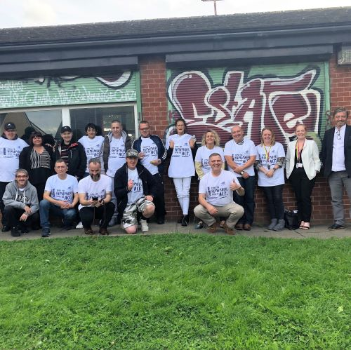 Front Row: last on right Peter Yarwood amongst peers and professionals from the Burnley area wearing EuroNPUD's Naloxone and International Overdose Awareness Day tshirts!