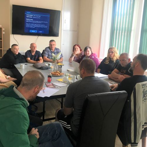 Members from Lancashire Users' Forum in BlackPool, having their focus group prior to their mystery shopping exercise.