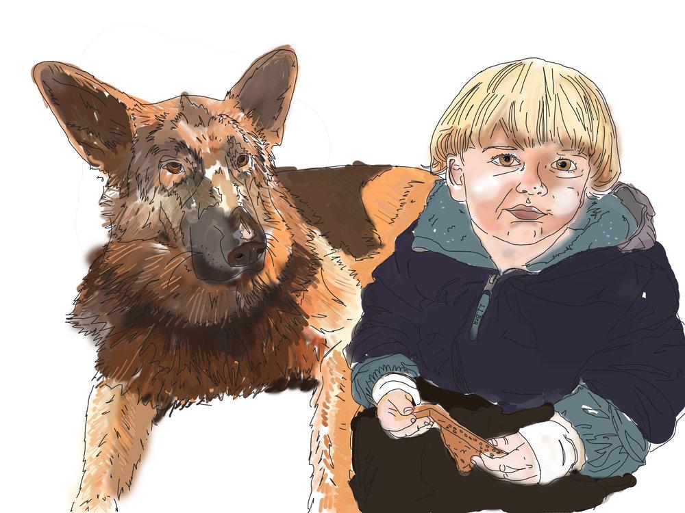 digital illustration dog portrait