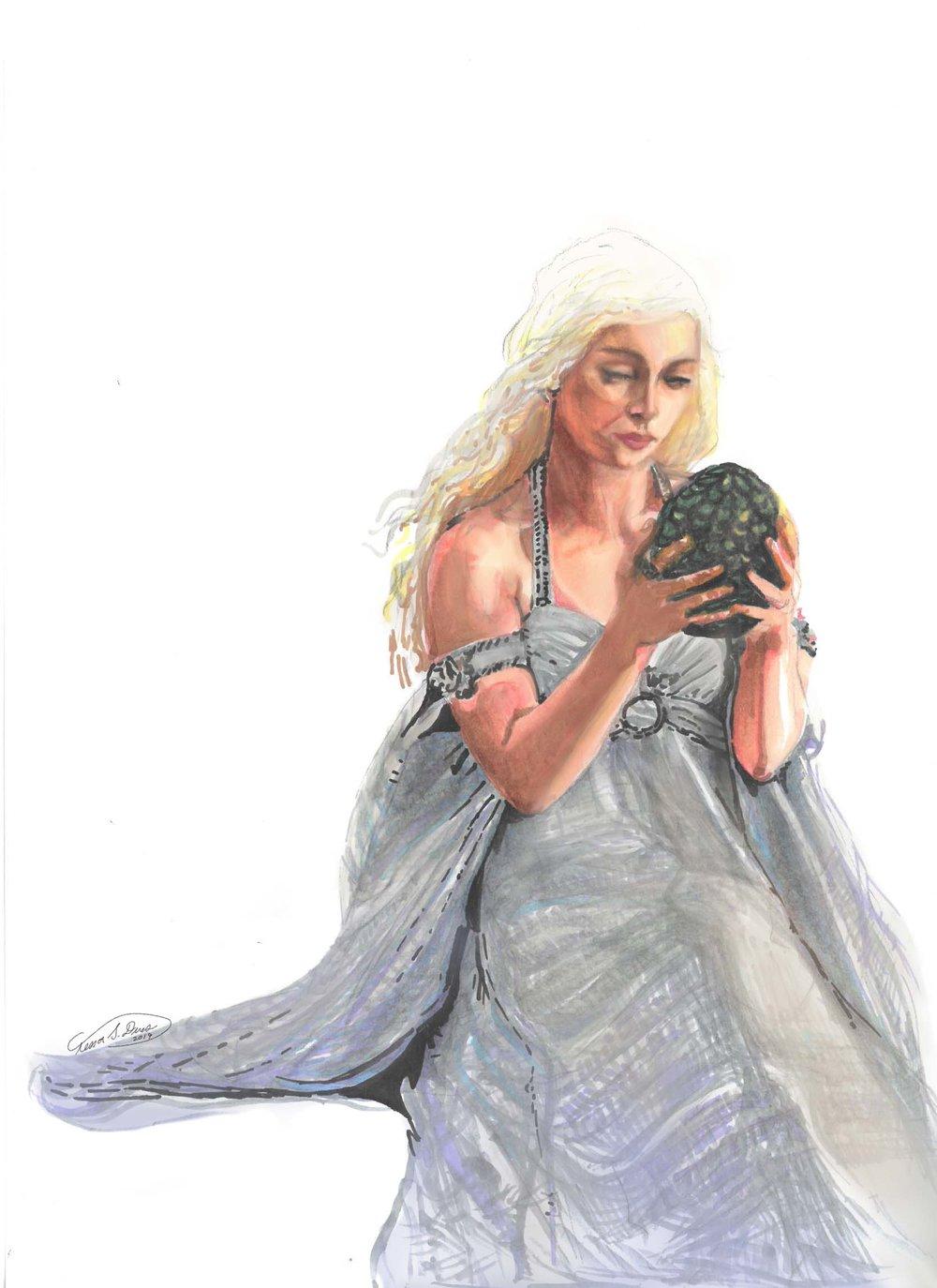 [signed] tessa dines_Daenerys with dragon egg.jpg