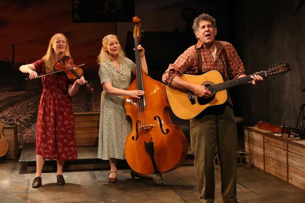 Megan Loomis, Helen Jean Russell and Andy Teirstein in WOODY SEZ at Irish Rep, Photo by Carol Rosegg.JPG