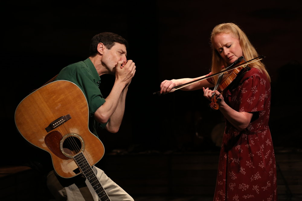 David M. Lutken and Megan Loomis in WOODY SEZ at Irish Rep, Photo by Carol Rosegg.JPG