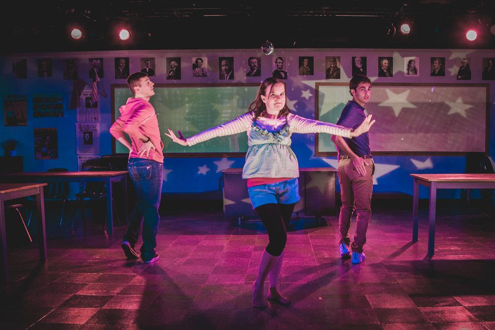 Austin Davidson, Betsy Hogg, and Ben Getz in SPEECH & DEBATE at BSC, Photo by Justin Allen.jpg