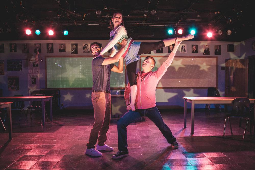 Ben Getz, Betsy Hogg, and Austin Davidson in SPEECH & DEBATE at BSC, Photo by Justin Allen.jpg