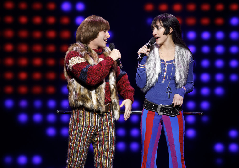 Jarrod Spector as Sonny Bono and Micaela Diamond as Babe in THE CHER SHOW on Broadway - photo by Joan Marcus - 843r.jpg