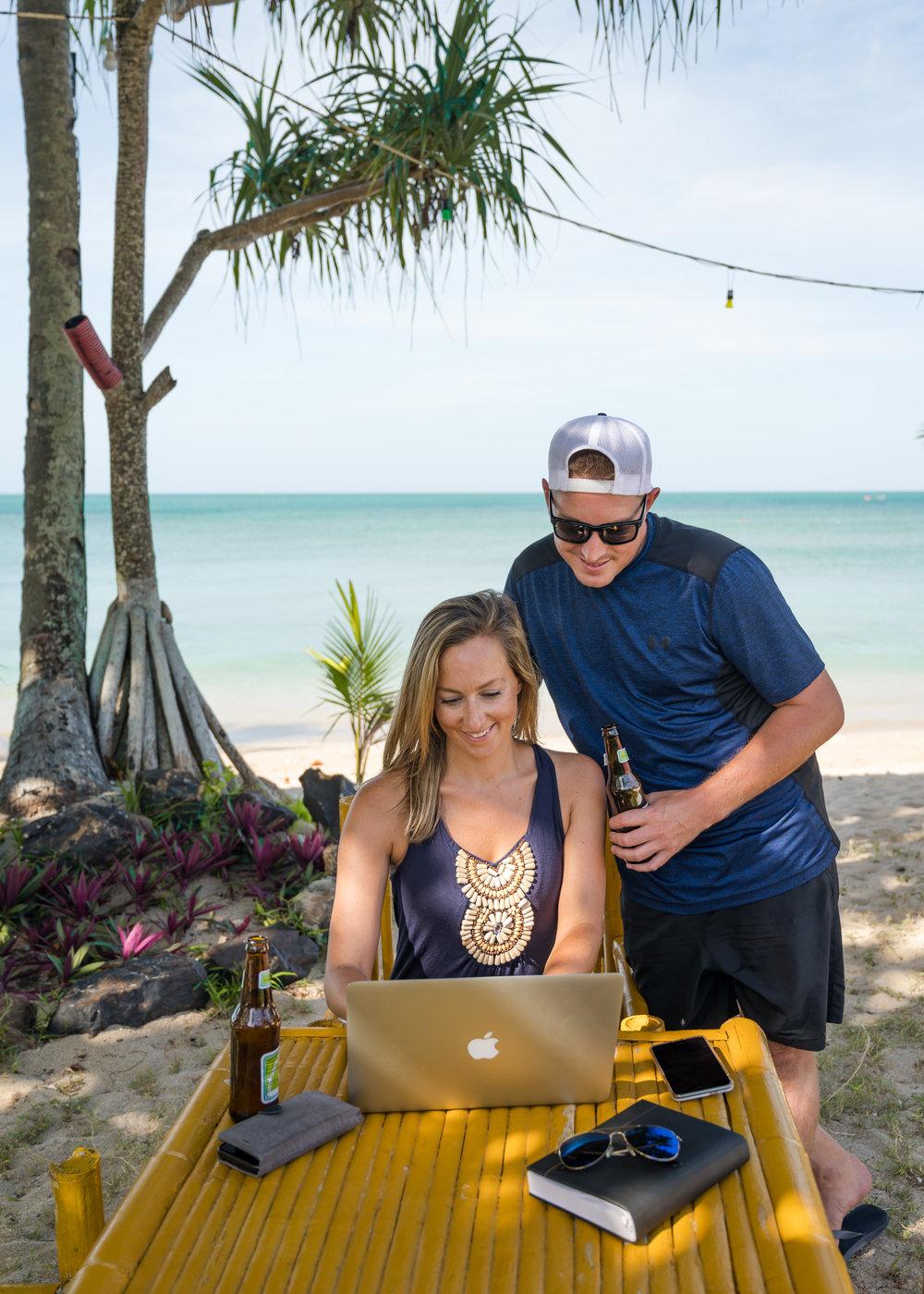 Piet and Bri - Koh Lanta Work on Beach.JPG