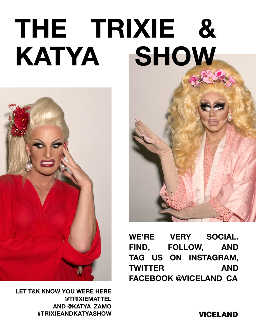 Social media promotional ad for a  Trixie & Katya  screening.