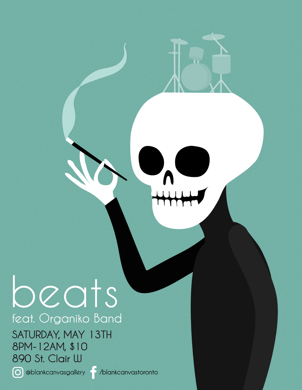 Beats  is an older Blank Canvas Event that features local bands who provide a contemporary fusion of various sounds. The beatnick vibe that is present in the Dead Poet events was inspiration for the flyer.