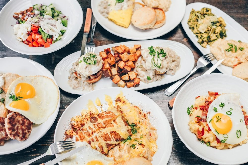 Pictured Above: Fish & Grits, Breakfast Mac & Cheese, Country Sausage Benedict, Pesto Scramble, Smith & Kings Omelette, & Cobb Salad with Buttermilk Ranch. (All Eggs are Locally Sourced)