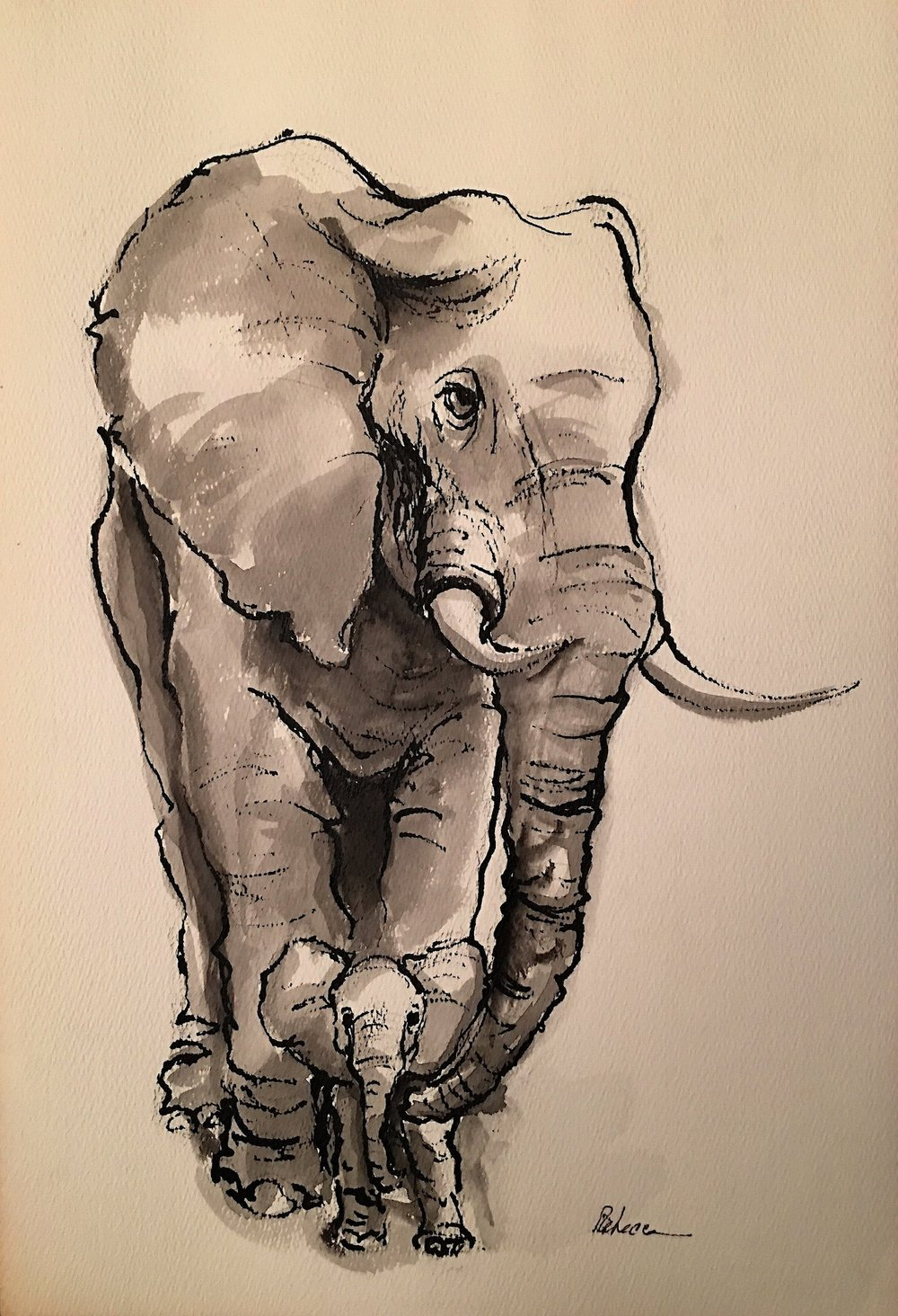Mama Elephant and Baby