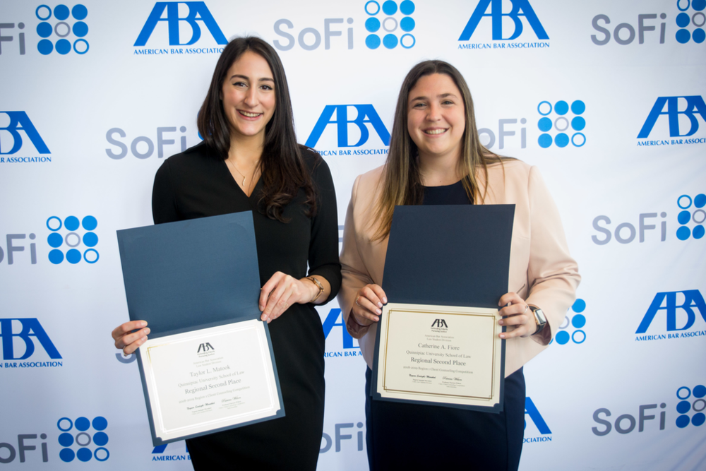 QUSL SDR Competition Team Members Taylor Matook, JD '19 (left) & Catherine Fiore, JD '19 (right)