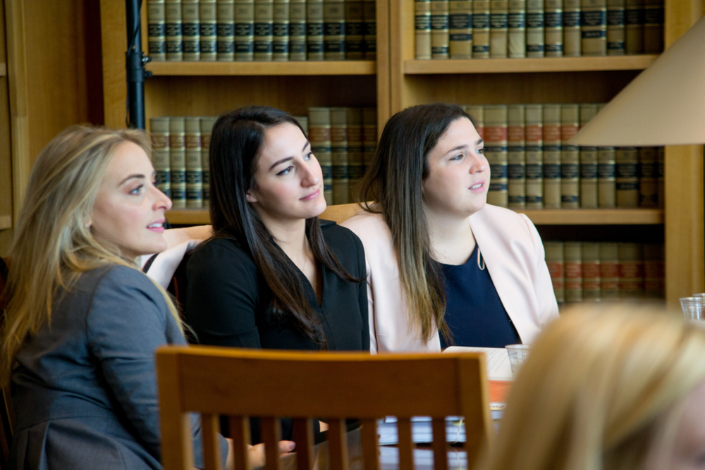 Coach Chelsea Vetre, JD '15 (left), Taylor Matook, JD '19 (middle), & Catherine Fiore, JD '19 (right).