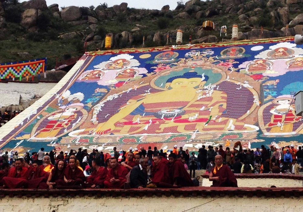 The giant thangka at Drepung Monastery in Lhasa.