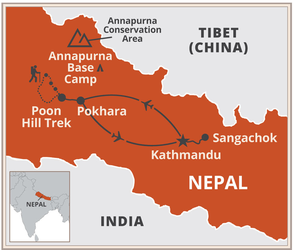 Map of Nepal Yoga Journey typical itinerary
