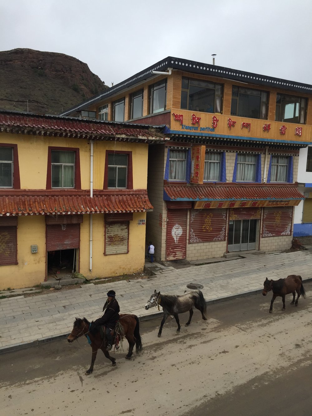 Tibetan cowboy riding down the main street of Langmusi town.