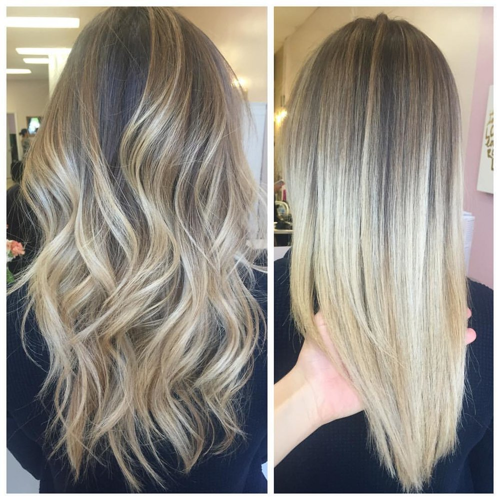 Ombre & Balayage - The combination of Ombre (to transition from darkness to lightness) and Balayage (the sweeping technique of lightening the hair to give a soft and natural highlighted look). Usually, this look is more dimensional at the crown and melts down into more of an all over color towards the ends. Starting price for this service is $210.