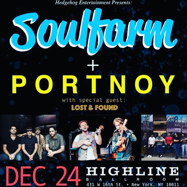 We're just 1 week away from this show! Join @clanzbom @portnoymusic @lostandfoundmusicgroup for a night of musical collabs you won't forget! . . . . #nyc #livemusic #xmas #jewishmusic #soulfarm #portnoy #jjholycow #highline #highlineballroom #jams #groovy #nycshows #production #annual #hedgehog #entertainment #music #rhythm