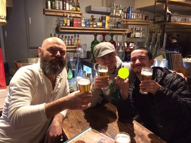 Laurence, Matt, Sol - last pub of the night! (birdy edited out :x)