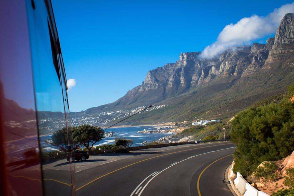 Riding the bus along the beautiful cape coast...