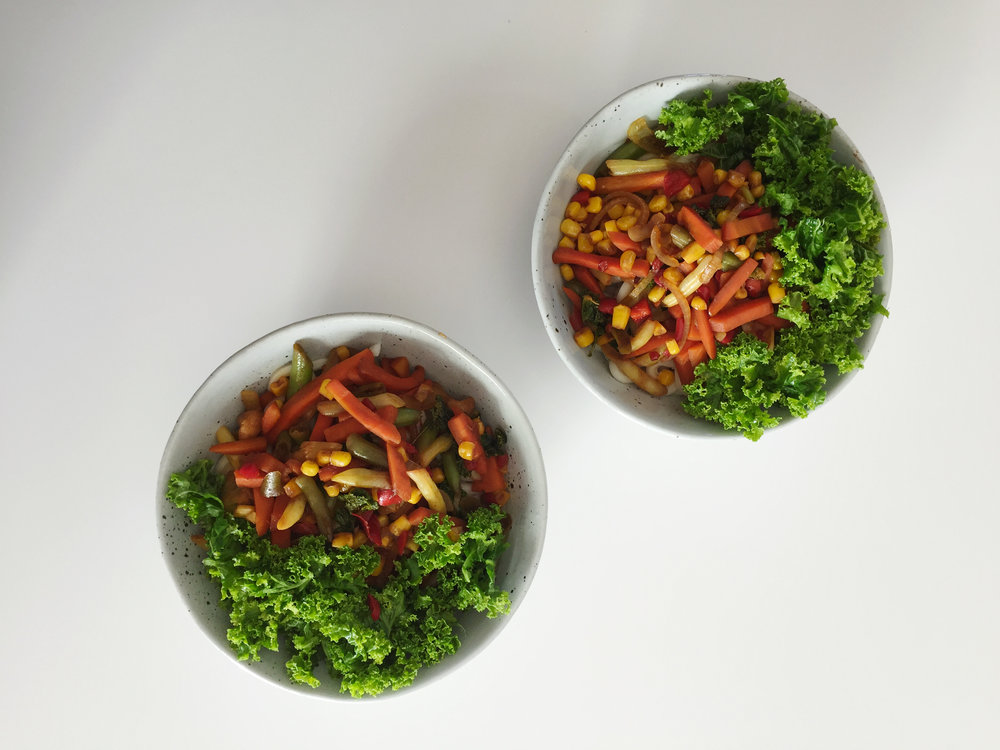 Vege Bowl - Another simple vege bowl before we added the 'meaty' bits (tofu for me and chicken for Luke). I was super proud of Luke when he ate all his kale. Like I know I'm a big fan of it, but Luke? It must have been good.