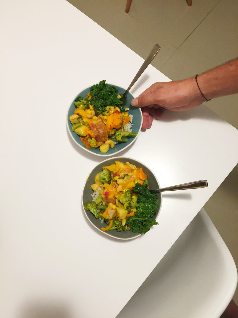 Coconut Curry - Curry is one of our easy go to's. Spices and coconut milk plus veges of course. We pack it with veges and add beans or lentils. Maybe tofu, or some vege meat. Serve it up on rice and it is good to go.