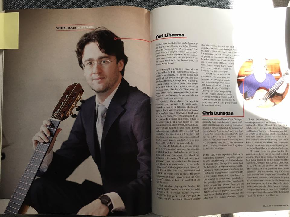 Interview for Classical Guitar Magazine on choosing repertoire