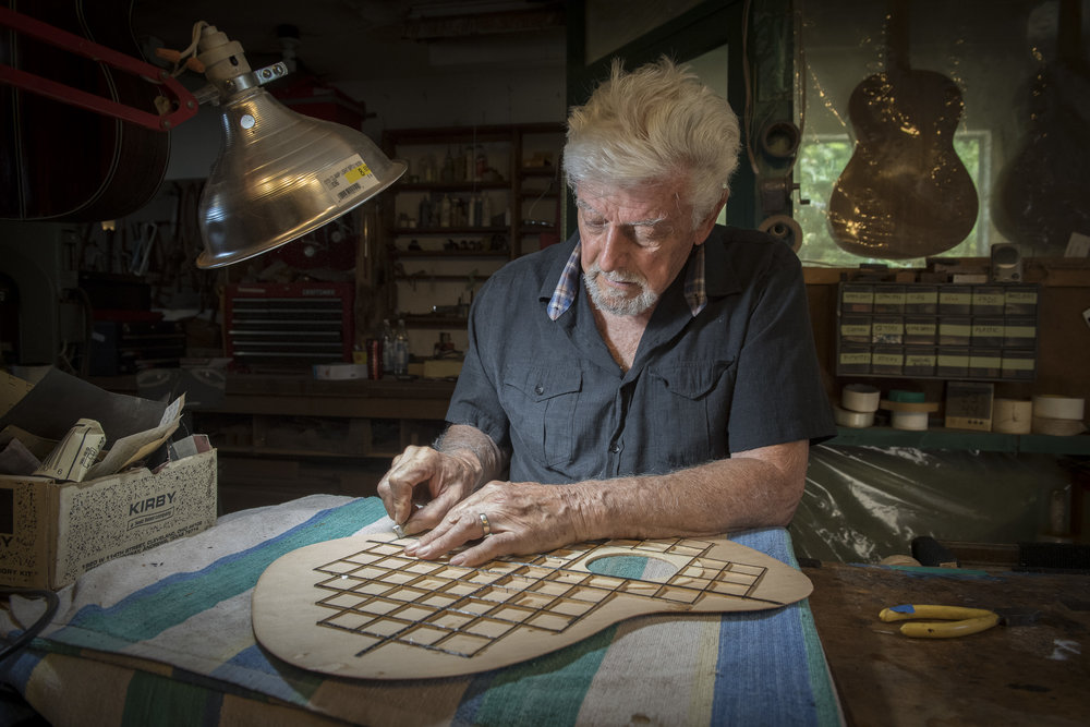 A great friend and luthier Gil Carnal in his shop in Santa Cruz