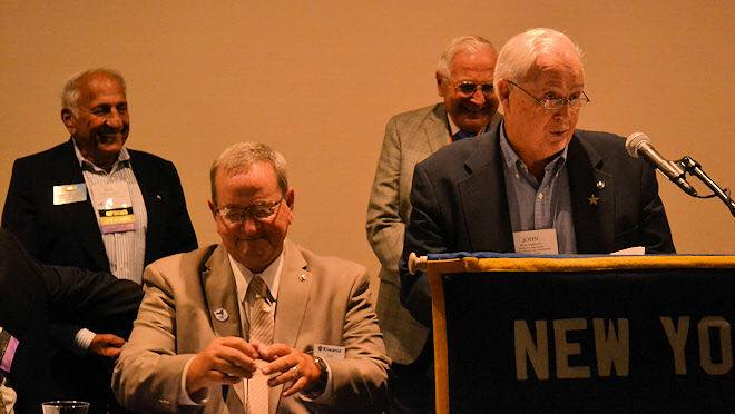 August 2018:  During the District Convention, the Gerald P. Christiano Distinguished Service Award was presented to Past Finger Lakes Lt. Gov. John Hanratty. From left, Past Gov. Robert Calabrese, Gov-Elect Hank Baker, Past Lt. Gov. John Hanratty and Past International President Gerald Christiano.
