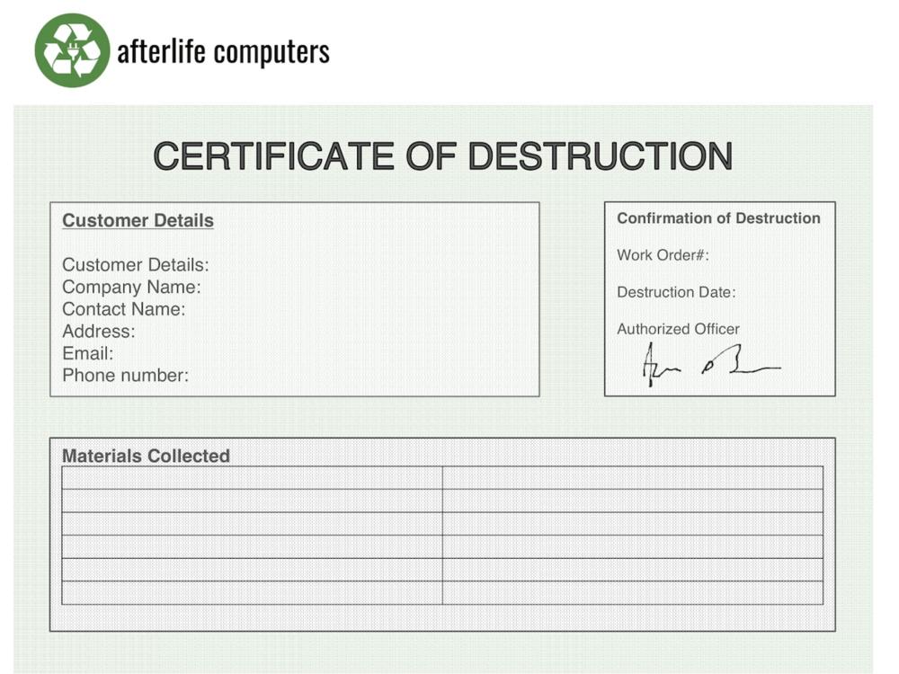 New gallery ordinateurs au dela for Hard drive certificate of destruction template 2