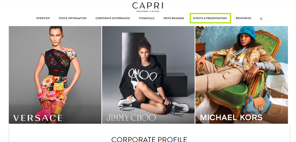 The top of the Investor Relations page of the Capri holdings.