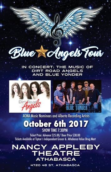Blue Yonder has a show on October 6, 2017, at the beautiful Nancy Appleby Theatre in Athabasca along with the fabulous Dirt Road Angels!
