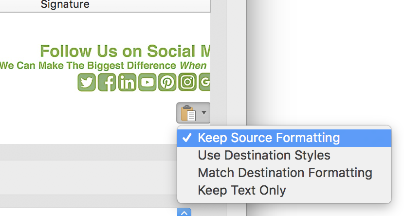 "Select  ""Keep Source Formatting""."